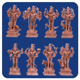 Ashta Bhairava Statue Set