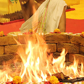 Individual 1 Priest Arunachaleswarar Blessings Fire Lab at AstroVed Remedy Center