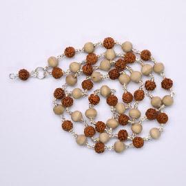 Energized Dattatreya Mala (Rudraksham with Tulsi Beads) with Dattatreya Pendant in Silver String