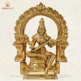 Energized 6 Inch Five Metal Saraswati Statue