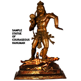 "Statue - Hanuman in Courageous Form Stepping on Saturn Statue (9"" height)"