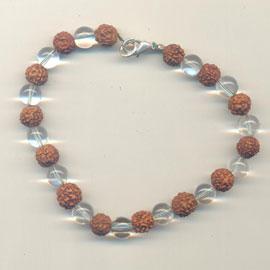 Siva Shakti Bracelet: Rudraksha and Crystal Beads