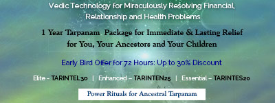 1 Year Tarpanam (Offering to Your Ancestors)