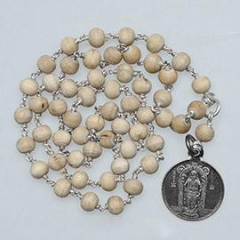 Energized 54-Bead Silver String Tulsi Mala with Guruvayurappan Pendant